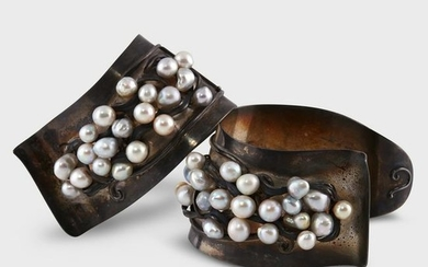 A pair of baroque cultured pearl and sterling silver