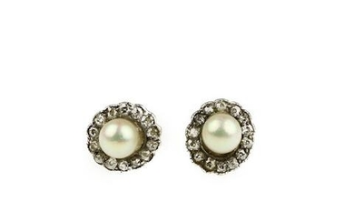 A pair of cultured pearl and diamond cluster ear studs