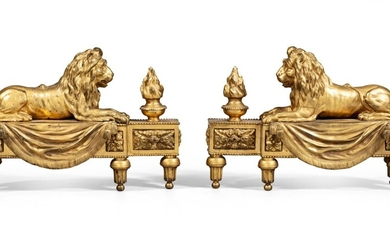 A pair of gilt-bronze fire-dogs, late 18th century - early 19th century | Paire de chenets au lion en bronze doré de la fin du XVIIIème - début du XIXème siècle