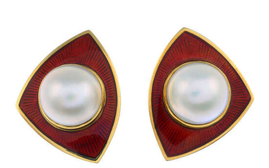A pair of mabe pearl and red enamel earrings, by de Vroomen.