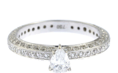 A pear-shape diamond single-stone ring, with pave-set diamond band.