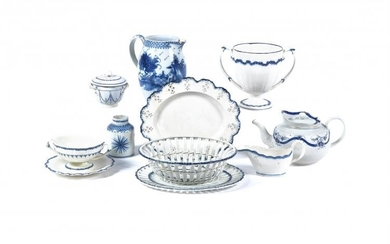 A selection of Staffordshire blue and white pearlware