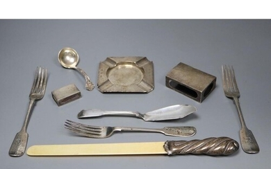 A silver-mounted ivory page turner and a miscellaneous silve...