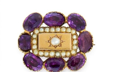 AN ANTIQUE PEARL AND AMETHYST BROOCH, 19TH CENTURY in