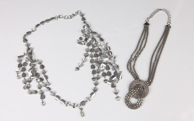 ART-DECO STYLE DOUBLE STRAND NECKLACE WITH REFLECTIVE BEADS; ONE SILVER-TONE...