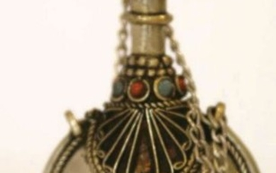 ASIAN SILVER TURQUOISE & CORAL BOTTLE