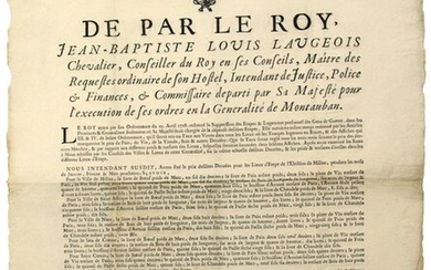 """AVEYRON. 1719. ELECTION OF MILLAU (12). """"By the King, Jean-Baptiste Louis LAUGEOIS, King's Counsellor, Intendant in the Generality of MONTAUBAN"""" """"Have fixed the price of foodstuffs (Bread, Wine, Meat, Wood & others) for the Stage Places (of the People..."""