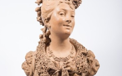 Albert-Ernest Carrier-Belleuse (French 1824-1887) Terracotta Portrait Bust of a Young Woman F1A1