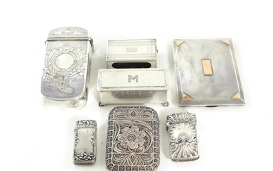American silver cigarette cases and match safes (7pcs)
