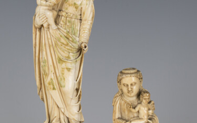 An 18th century Goan carved ivory full-length figure of the Madonna and Child, height 16.2cm, mounte