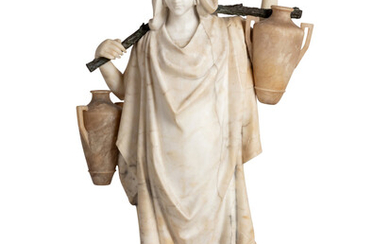An Italian Carved Alabaster and Cast Metal Orientalist Water Carrier Figure