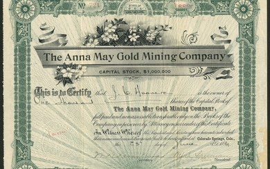 Anna May Gold Mining Company, Colorado, pair of certificates for $1 shares, the first 189[9], #...