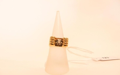 Art Deco ring in 18 karat yellow gold set with a diamond, t. 51, 8 g approx.