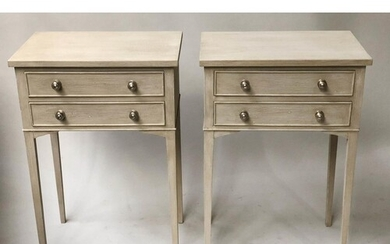BEDSIDE/LAMP TABLES, a pair, Georgian style grey painted and...