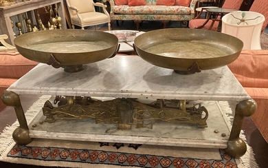 BRASS AND MARBLE TABLE-TOP MARKET SCALE. Pair 12 1/2 in....