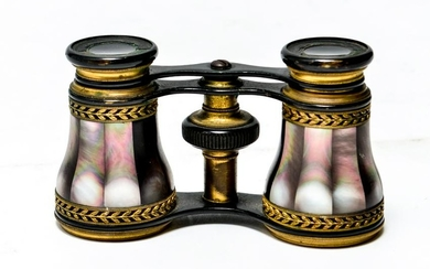Brass & Metal Opera Glasses w Abalone Inlay