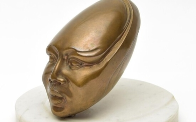 "Bronze futuristic ""head"" on marble base, designer &..."