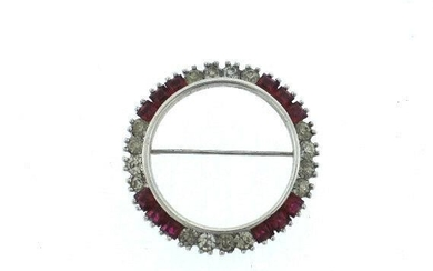 C.1920 STERLING SILVER PIN BROOCH RED & WHITE STONES
