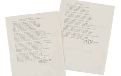"""CAPUTO, Philip (b. 1941). A collection of 2 typed poems signed with carbon copies (""""Philip Caputo""""), 2 autograph letters signed (""""Phil""""), and one typed letter signed (""""Phil""""), 2 December 1973 - 19 April 1977, a few typed and handwritten corrections..."""
