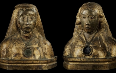 CENTRAL OR SOUTHERN ITALIAN, 13TH/15TH CENTURY | PAIR OF RELIQUARY BUSTS OF MARTYRED FEMALE SAINTS