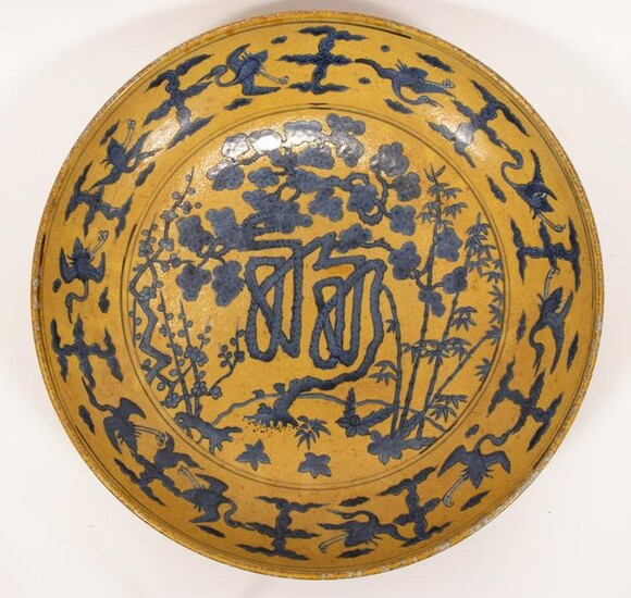 CHINESE MING STYLE BLUE AND YELLOW GLAZE PORCELAIN