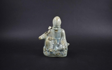 CHINESE QING DYNASTY POTTERY FIGURE OF SHOU LAO
