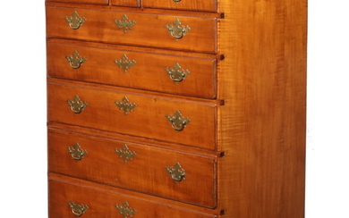 CHIPPENDALE TIGER MAPLE CHEST