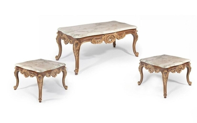 COFFEE TABLE AND TWO LOUIS STYLE GUERIDONS XV