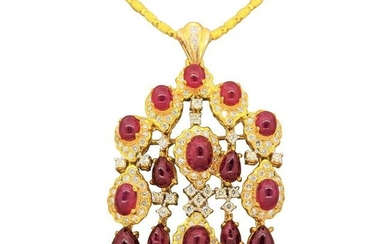 Cabochon Ruby Diamond Gold Chandelier Pendant and
