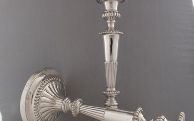 Candlestick, A Pair of George III Candlesticks, 29.5 cm (2) - .925 silver, Silver - John Roberts & Co, Sheffield - England - 1813
