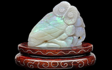 Carved Opal Owl on a Wooden Stand
