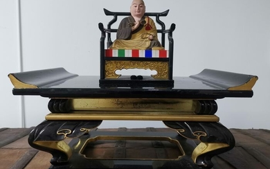Carving (2) - Gold and Black - Wood - Buddhist monk + Altar - Japan - Early 20th century