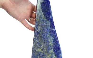 Carving of Lapis Lazuli on a marble and brass base - 290×135×135 mm - 2317 g