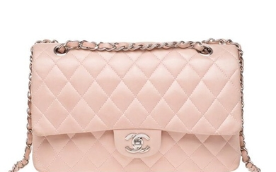 Chanel - Timeless medium (25cm) en cuir matelassé rose, garniture en métal argenté Handbag