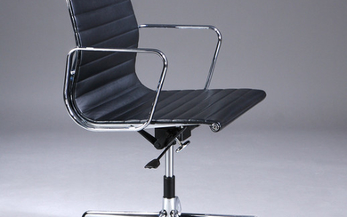 Charles Eames. Office chair in black leather, model EA-117