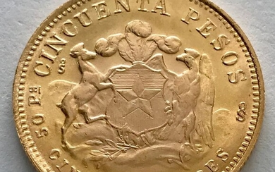 Chile - 50 Peso 1968 - Cinco Condores - Gold