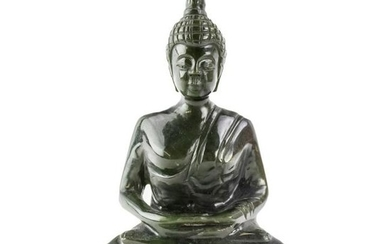 Chinese Carved Natural Green Jade Buddha Sculpture