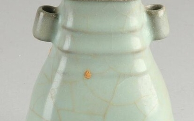 Chinese porcelain celadon vase with gray-colored