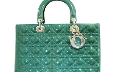 Christian Dior - Handbag Large Patent Leather Green Lady Christian Dior