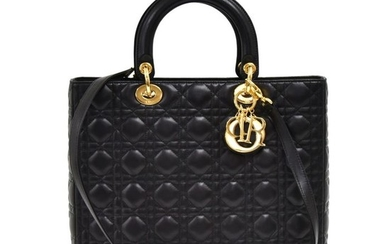 Christian Dior - Lady Dior Large Black Quilted Cannage LeatherShoulder bag