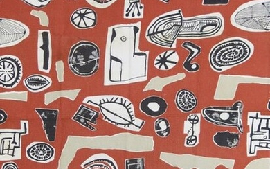 Collage Elements a screen printed rayon textile designed by Sir Eduardo Paolozzi, manufactured by David Whitehead Ltd, originally designed in 1952, printed with abstract geometric panels in black, white and mushroom on a red ground unsigned, 76 x 56cm.