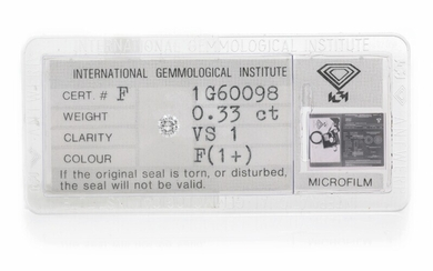 An unmounted brilliant-cut diamond weighing 0.33 ct. Colour: Top Wesselton (F). Clarity: VS1. – Bruun...