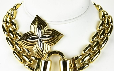 Costume Gold Link Choker Necklace & Monet Pin