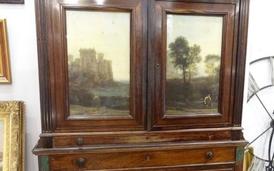 Cupboard, Two doors with signed 19th century Italian school landscapes - Georgian - Mahogany - First half 19th century