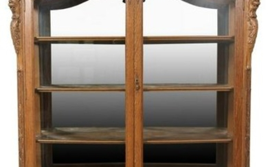Curved Glass Oak Display Cabinet