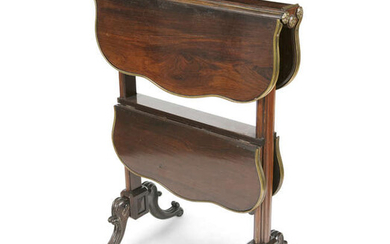Description A FINE ROSEWOOD AND GILT BRASS TWO TIER...
