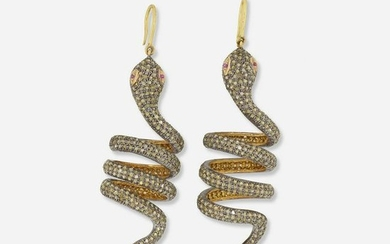 Diamond and ruby snake earrings
