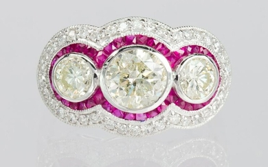 Diamond, ruby, platinum ring