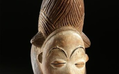 Early 20th C. African Punu Painted Wood Mask of Female