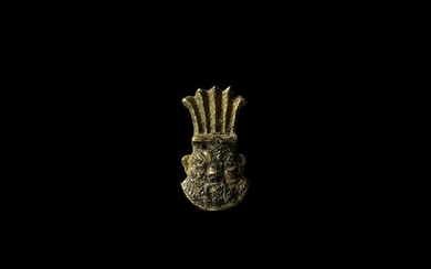 Egyptian Gold Bes Head Amulet